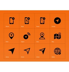 Navigator icons on orange background vector image