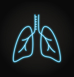 neon lungs icon in thin line style vector image