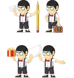 Nerd boy customizable mascot 14 vector