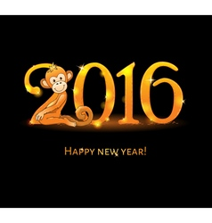 New Year card with monkey vector image