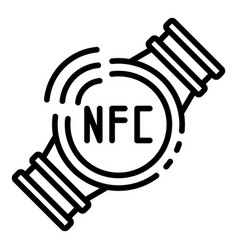 Nfc smart watch icon outline style vector