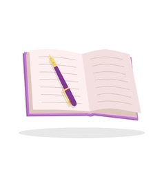 Notebook with pen flat design vector