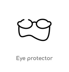Outline eye protector icon isolated black simple vector