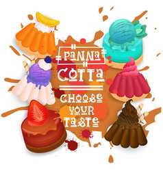 panna cotta set desserts collection colorful icon vector image