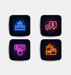 Payment received buying and circus icons vector