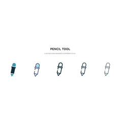 Pencil tool icon in different style two colored vector