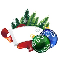 Pine Tree wreath with Christmas balls vector