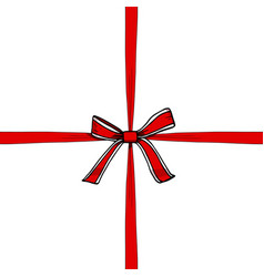 red and white bow with ribbon vector image