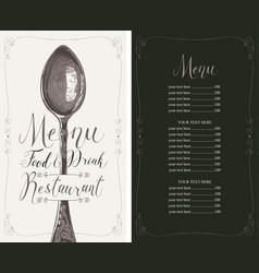restaurant menu with price list and realistic vector image