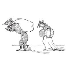 reynard the fox stealing the treasure vintage vector image