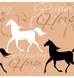 Seamless pattern with running horses and text vector image
