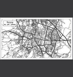 Serang indonesia city map in black and white vector