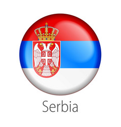serbia round button flag vector image