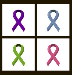 Set of color breast cancer awareness ribbon vector