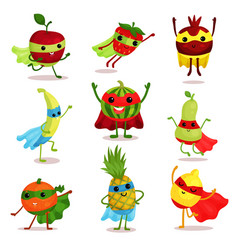 Set of happy superhero fruit vector