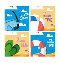 set summer cards vector image