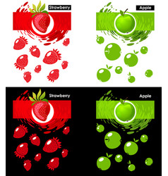 Set template icon of fruit strawberry and apple vector