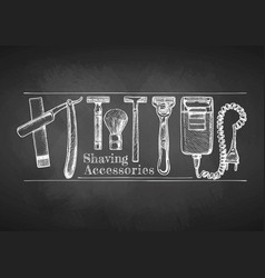 shaving accessories on chalkboard vector image