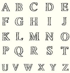 short line alphabet freehand font vector image