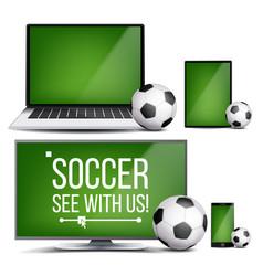 soccer application field soccer ball vector image
