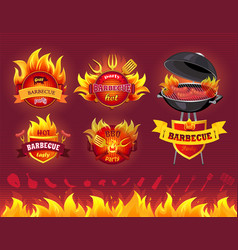 Tasty hot barbecue grill party set of icons vector
