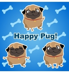Three happy dogs on a blue background with bones vector