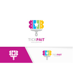ticket and brush logo combination ducket vector image