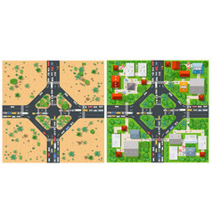 top view transport of the road vector image