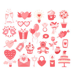 Valentines day flat icons isolated on white vector