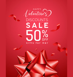 valentines day sale red ribbon design vector image