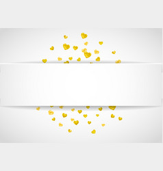 Valentines paper frame with gold glitter hearts vector