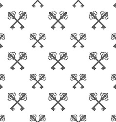 Vintage Key Silhouette Seamless Pattern vector image
