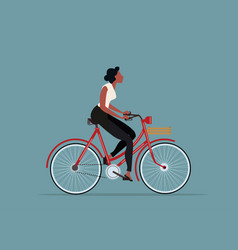 vintage style woman riding a bicycle vector image