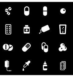 white pills icon set vector image
