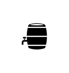 wooden barrel with a tap flat icon vector image