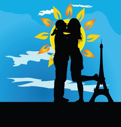 Young couple kissing in front of the tower vector
