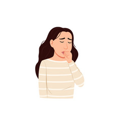 Young woman coughing into fist in front mouth vector
