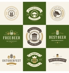 Badges and logos set Beer festival Oktoberfest vector image vector image