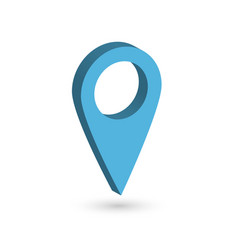 blue 3d map pointer with dropped shadow on white vector image