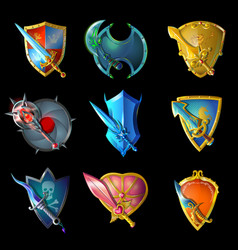 cartoon decorative medieval weapons set vector image