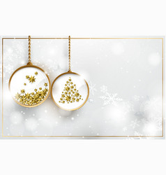 christmas ball with gold stars and snowflakes vector image