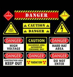 Danger warning symbols vector