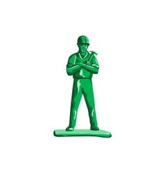 Green builder holding hammer retro vector