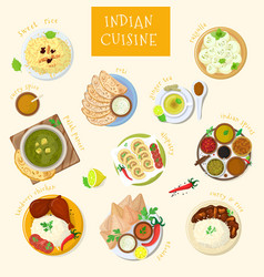 indian food india cuisine and asian dishes vector image