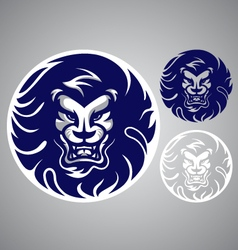 Lion head blue logo vector