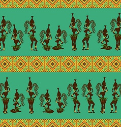 Seamless pattern of African girls vector image