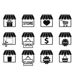 black store icons set vector image vector image