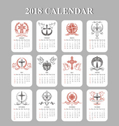 calendar template easter crucifix design vector image