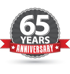 Celebrating 65 years anniversary retro label with vector image