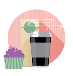 Coffee cup and cake vector image vector image